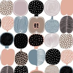 Marimekko - Kompotti cotton fabric - design Aino Maija Metsola Graphic Patterns, Textile Patterns, Floral Patterns, Rgb Color Space, Colour, Zen Colors, Marimekko Fabric, Scandinavia Design, Watercolor Circles