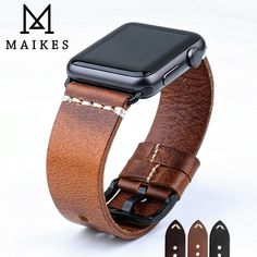 Cool Watches: Best Seller MAIKES Watch Accessories Watchband For Apple Watch Bands & Apple Watch Strap Series 4 3 2 1 iWatch Bracelet Apple Watch Serie 1, Apple Watch Models, Apple Watch Leather Strap, Leather Watch Bands, Apple Watch Bands Mens, Apple Watch Men, Smart Watch Brands, Watch Strap Replacement, Bracelets Design