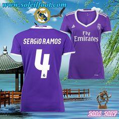 Maillot De Football FC Real Madrid Femme (SERGIO RAMOS 4) Exterieur 2016-2017 Moins Cher