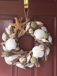 Beach Decor Seashell and Starfish Driftwood Wreath - Shell Wreath - Coastal Home Decor - Nautical Decor - Seashells - Christmas Wreath