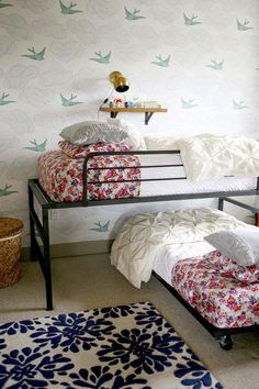 Love these simple & industrial beds!   (the boo and the boy: shared kids' rooms)