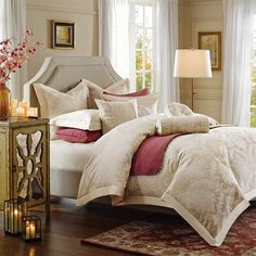Soft and elegant, traditonal bedding, Candlelight. This bedding has a Special Dimentional Damsk jacquard TOB, embroidery shams, and beautiful pillows.