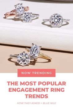 You heard it here first! These engagement ring styles (from three-stone halo engagement rings to yellow gold engagement rings) are trending right NOW, according to Blue Nile. 👀 #ad Most Popular Engagement Rings, Top Engagement Rings, Designer Engagement Rings, Blue Nile, Fashion Rings, Ring Designs, Wedding Rings, Gold, Stone