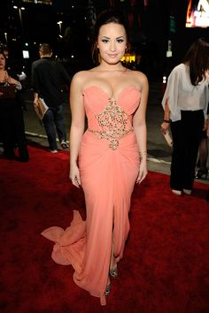 Demi Lovato Beaded Strapless Orange Chiffon Long Prom Dress Peoples Choice 2e075fcd6