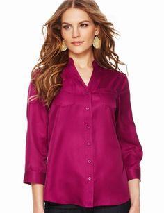 The Limited - Mandarin-Collar Split-V Blouse in Vivid Magenta  #TheLimitedShirtEvent  Love :)