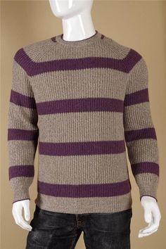 $1870 Brunello Cucinelli Striped Cashmere Sweater 54  XL Purple Gray Crewneck #BrunelloCucinelli #Crewneck