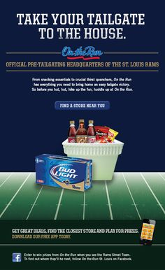 On the Run - Pre-Tailgating Sponsor for the St Louis Rams - Email Promotion