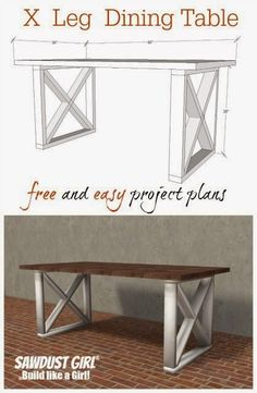 DIY And Crafts: X leg dining table. Easy and inexpensive project