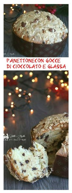 Panettone con gocce di cioccolato e glassa buonissimo http://blog.giallozafferano.it/mille1ricette/panettone-gocce-cioccolato-glassa/