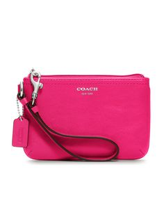 i own it, and I LOVE it!     Coach, Leather Small Wristlet, Silver/Magenta