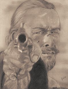 Toby Stephens as Captain James Flint in 'Black Sails'. Freehand sketch using HB and 6B pencils and eraser. Darkened and tinted digitally.