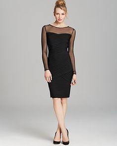 Calvin Klein Mesh Top Ribbed Dress | Bloomingdale's