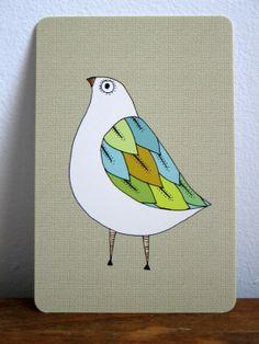 Little Cute Bird Art Postcard by courtneyoquist on Etsy, $2.00