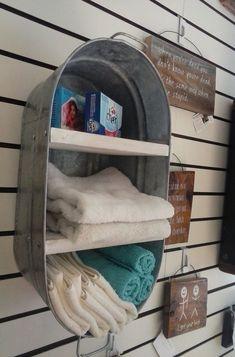 Rustic Bathroom/laundry room DIY decor idea: Upcycled Washtub Shelves for Outhouse/Country Bathroom