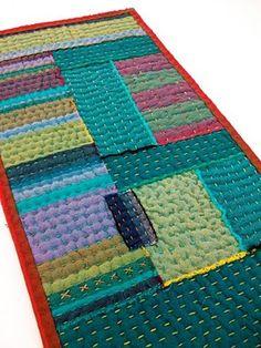 handstitched remnant mini quilt  hand quilting