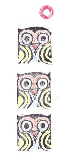 Owl Totem Linocut Print