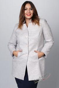Płaszcz  flauszowy zimowy elegancki stójka popielaty