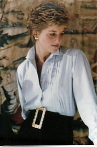 Princess Diana 1995 - grey silk blouse with statement belt