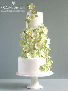 White with Green Trellis Wedding Cake