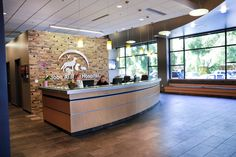 Reception desk at the Adobe Animal Hospital in Los Altos, California by Animal Arts Design Studios