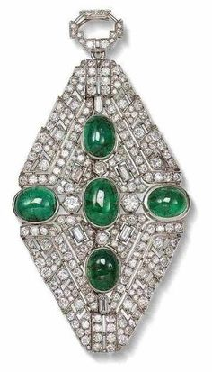 An art deco emerald and diamond brooch/pendant, circa 1930  The openwork plaque set throughout with old brilliant, single and baguette-cut diamonds surrounding five collet-set cabochon emeralds, to a diamond-set surmount, diamonds approximately 11.50 carats total, French assay marks, length 10.3cm by amelia