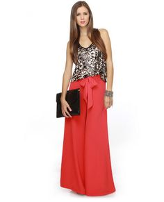 Love these wide leg red pants!