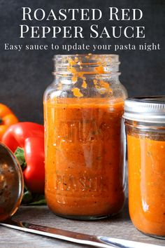 Easy Roasted Red Pepper Sauce A delicious homemade Red Pepper Sauce that is full of garlic, basil, and jarred roasted red peppers. This is a healthy pasta sauce recipe that is easy to make. This sauce is a great way to change up your weekly pasta dinner. Healthy Pasta Sauces, Healthy Pastas, Homemade Sauce, Homemade Pasta, Roasted Red Pepper Pasta, Roasted Peppers, Red Pepper Sauce Pasta, Red Pepper Recipes, Juicing