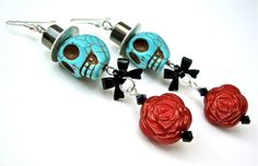 Skull earrings  - sugar skull and rose earrings - long skull earrings - Halloween earrings by Sparkle City Jewelry