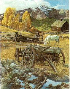 Farm Scene with Wagon and Horses