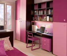 Admirable Teenager Girl Bedroom Design Interior Presenting Simple Study Areas With Bookcases Above Flanked Tall Wardrobe In Pink Shade For Teenage Girl Bedroom Paint Ideas. Awe-Inspiring Teenage Girl Bedroom Paint Ideas Create Your Personality Small Teenage Bedroom, Teenage Girl Bedroom Designs, Small Bedroom Designs, Teenage Girl Bedrooms, Small Room Design, Small Room Bedroom, Kids Room Design, Girls Bedroom, Small Rooms