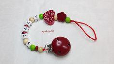 Schnullerkette Blume Wunschname Name Baby md232  von myduttel auf DaWanda.com