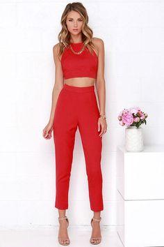 Image via We Heart It #fashion #jumpsuit #red #lulus #twopiece #lovelulus