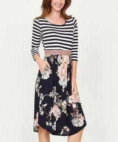 4e219719d4 Navy Stripe & Floral Midi Dress Floral Midi Dress, Floral Stripe, Navy  Stripes