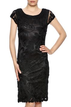 Black cap sleeve cocktail dress has a beautiful vine and leaf ribbon work motif on a mesh fabrication.   Leaf Motif Dress by Talk of the Walk. Clothing - Dresses - LBD Clothing - Dresses - Knee Clothing - Dresses - Short Sleeve Atlantic City, New Jersey New Jersey