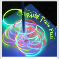 Late night camping fun for kids or adults. Ring toss with glow sticks.