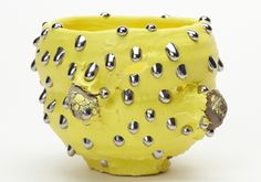 Takuro Kuwata, Bowl, 2013, porcelain and stone, 4 7/10 x 6 7/10 x 5 9/10 inches. From the Tomio Koyama Gallery.