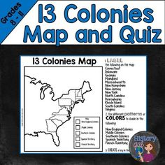 13 colonies map and quiz includes a 13 colonies map for students to complete and
