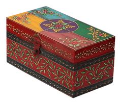 Bulk Wholesale Handmade Colorful Wooden Bangle Box Decorated with Old World Cone-Painting Art in Traditional Style Motifs – Antique-Look Boxes from India Painted Trunk, Painted Wooden Boxes, Painted Furniture, Furniture Design, Bangle Box, Decoupage Box, Decoupage Tutorial, Tea Box, Altered Boxes