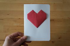 Origami Greeting card with heart  hand made for by PinisArtShop