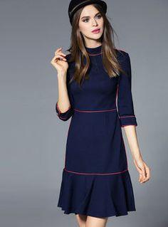 Trendy Dresses, Simple Dresses, Nice Dresses, Casual Dresses, Short Dresses, Dresses For Work, Long Sleeve Midi Dress, Mini Dress With Sleeves, Half Sleeves