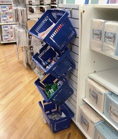 Endcap bin merchandising by way of totes mounted casually on store-standard, slatwall display hooks. Slat Wall, Home Organization, Booth Displays, Shop Displays, Kitchen Appliances, Totes, Storage, Display Ideas, Business