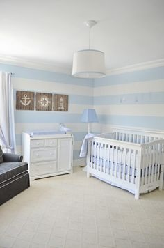 nautical baby's room   Lovely Powder Blue And White Nautical Baby Boy's Nursery Design