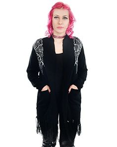 buy now   $54.99     (adsbygoogle = window.adsbygoogle || []).push();  Creep into the alluring lair of the black widow but watch your back or you might get bitten.Spider webs knit-in on front & back.Patch pockets on front.Soft, over-sized light-weight cardigan with fringe...