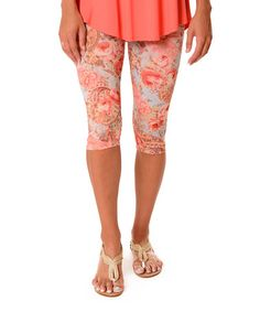Look what I found on #zulily! Coral & White Abstract Capri Leggings - Plus #zulilyfinds