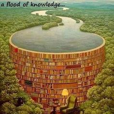 Surrealism Art - title Bible Dam by painter Jacek Yerka - Behind every stack of books is a flood of knowledge! Stack Of Books, I Love Books, My Books, Read Books, Book Nooks, Surreal Art, Book Nerd, Book Lovers, The Book