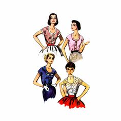 1950s Womens Kimono Sleeve Blouse Top Simplicity by patternshop