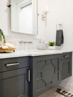 "Dark Vanity In Small Bathroom Inspirational Dark Gray Bathroom Vanity is Painted with ""sherwin Williams Grey Bathroom Cabinets, Dark Gray Bathroom, Painting Bathroom Cabinets, Grey Bathroom Vanity, Gray Vanity, Grey Cabinets, Grey Bathrooms, Small Bathroom, Bathroom Vanities"