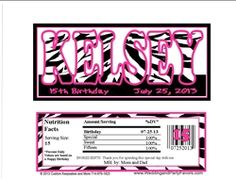 name in zebra print birthday candy bar wrappers