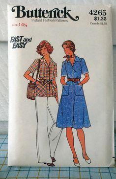 Butterick 4265 Cool 1970s Vintage Shirtdress Shirt