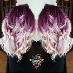 Casual, Curly Medium Hairstyles - Plum purple hair color base with billowy white blonde hair